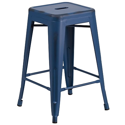 Flash Furniture 24'' High Backless Distressed Antique Blue Metal Indoor-Outdoor Counter Height Stool (ETBT350324AB)