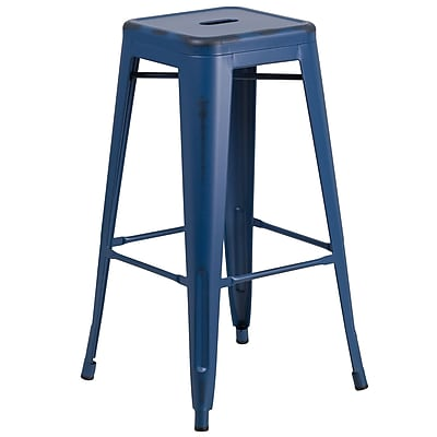 Flash Furniture 30'' High Backless Distressed Antique Blue Metal Indoor-Outdoor Barstool (ETBT350330AB)