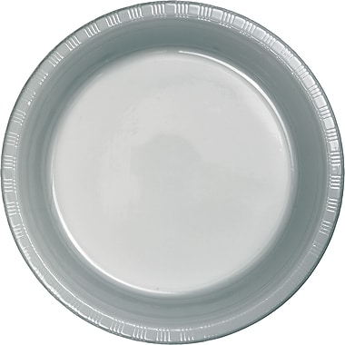 Touch of Color Shimmering Silver Plastic Plates, 20 pk (28106021)