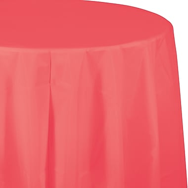 Touch of Color Coral Round Plastic Tablecloth (703146)