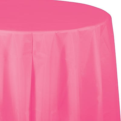 Touch of Color Candy Pink Round Plastic Tablecloth (703042)