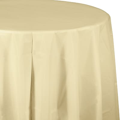Touch of Color Ivory Round Plastic Tablecloth (703264)