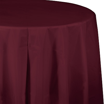 Touch of Color Burgundy Red Round Plastic Tablecloth (703122)