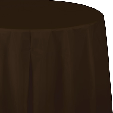 Touch of Color Chocolate Brown Round Plastic Tablecloth (703038)