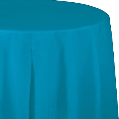 Touch of Color Turquoise Blue Round Plastic Tablecloth (703131)