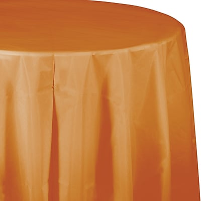 Touch of Color Pumpkin Spice Orange Round Plastic Tablecloth (323379)