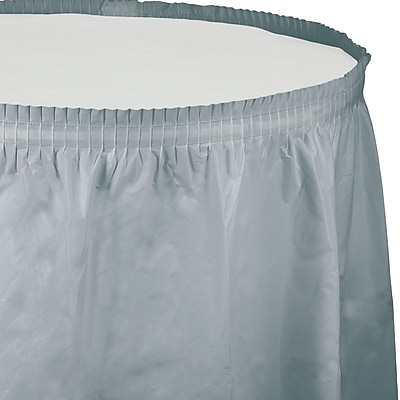 Touch of Color Shimmering Silver Plastic Tableskirt (010043)