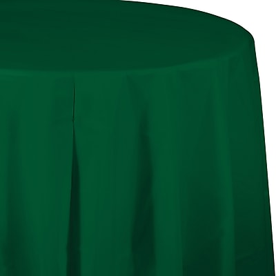 Touch of Color Hunter Green Round Plastic Tablecloth (703124)