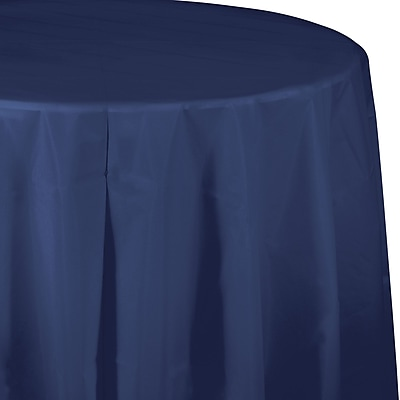 Touch of Color Navy Blue Round Plastic Tablecloth (703278)