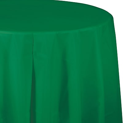 Touch of Color Emerald Green Round Plastic Tablecloth (703261)