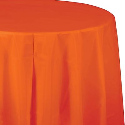Touch of Color Sunkissed Orange Round Plastic Tablecloth (703282)