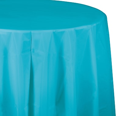 Touch of Color Bermuda Blue Round Plastic Tablecloth (703552)