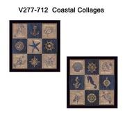 """TrendyDecor4U """"Coastal Collage"""" Set of 2 -12""""x12"""" Black Framed Art Print Frame by Debbie DeWitt (V277-712)"""