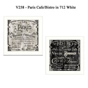 "TrendyDecor4U ""Paris Cafe/Bistro"" Set of 2 -12""x12"" White Framed  Wall Art Prints by Color Bakery (V258-712W)"