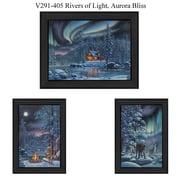 TrendyDecor4U Rivers of light, Aurora Bliss -1-24x18 & 2-12x18 Framed Print (V291-405)