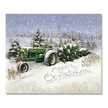 TrendyDecor4U Lighted Canvas Christmas Tree Tractor -16