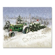 "TrendyDecor4U Lighted Canvas Christmas Tree Tractor -16""x20"" Framed Print (64171-C)"