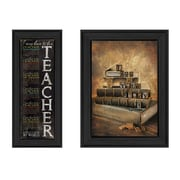 "TrendyDecor4U School -1-6""x18"" Framed Print (V185-405)"