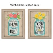 "TrendyDecor4U Mason Jars I -2-12""x16"" Framed Print (V224-636ML)"