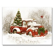 "TrendyDecor4U Lighted Canvas Vintage Christmas Tree Truck -16""x20"" Framed Print (63201-C)"