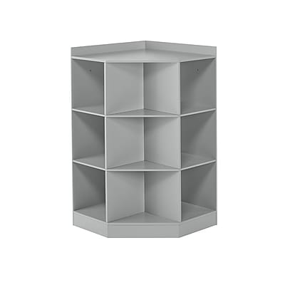 RiverRidge Kids 6-Cubby, 3-Shelf Corner Cabinet, Gray (02-145)