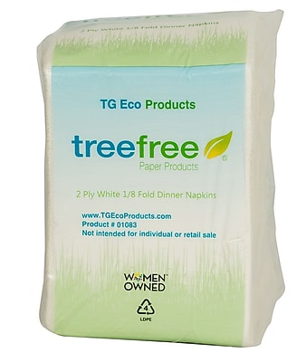 Tree Free Dinner Napkins, 2 ply, 3000 count