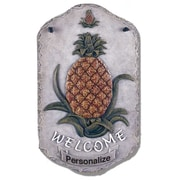 "TrendyDecor4U Welcome Pineapple, slates, porch, garden,-13""x7.75"" Framed Print (LP-114)"