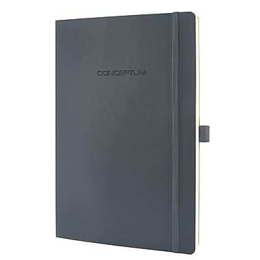 Sigel Softcover Lined Notebook A4 Extra Large Size With Elastic Closure, Dark Grey (SGA4SEL-DG)
