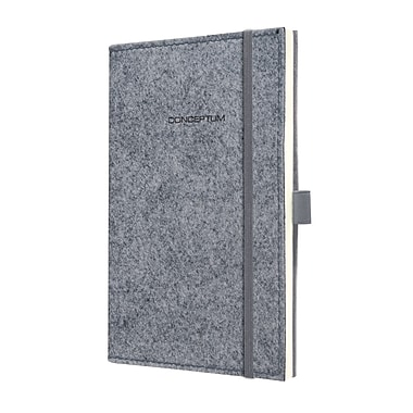 Sigel Felt Softcover Lined Notebook A5 Journal Size With Elastic Closure. Light Grey (SGA5FEL-LG)