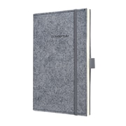Sigel Felt Softcover Lined Notebook - A5 Journal Size with Elastic Closure. Light Grey (SGA5FEL-LG)