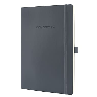 Sigel Softcover Graph Notebook - A4 Extra Large Size with Elastic Closure, Dark Grey (SGA4SES-DG)