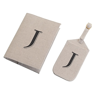 Lillian Rose Tan Monogram Luggage Tag & Passport Cover Set - J (TR185 J)