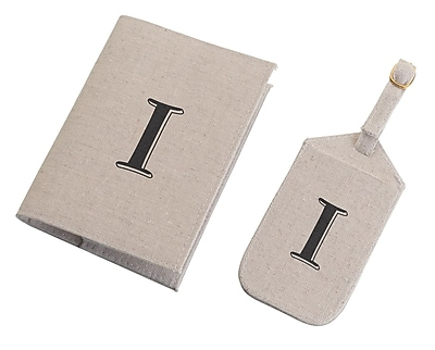 Lillian Rose Tan Monogram Luggage Tag & Passport Cover Set - I (TR185 I)