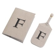 Lillian Rose Tan Monogram Luggage Tag & Passport Cover Set - F (TR185 F)