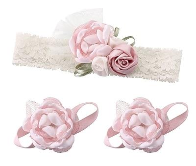 Lillian Rose Baby Headband & Barefoot Sandals - Pink (24HB100 PI)