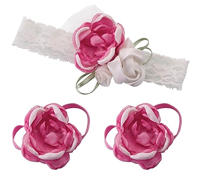 Lillian Rose Baby Headband & Barefoot Sandals - Hot Pink (24HB100 HP)