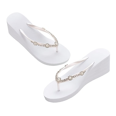 Lillian Rose White Pearl/Rhinestone Wedge Flip Flops - Medium (FF255 WM)
