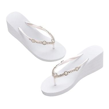 Lillian Rose White Pearl/Rhinestone Wedge Flip Flops - Large (FF255 WL)