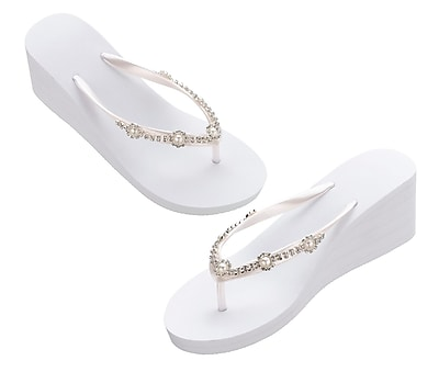 Lillian Rose White Pearl/Rhinestone Wedge Flip Flops - Large (FF255 WL)
