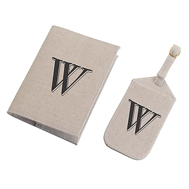 Lillian Rose Tan Monogram Luggage Tag & Passport Cover Set - W (TR185 W)