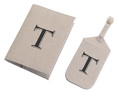 Lillian Rose Tan Monogram Luggage Tag & Passport Cover Set - T (TR185 T)