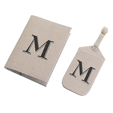 Lillian Rose Tan Monogram Luggage Tag & Passport Cover Set - M (TR185 M)