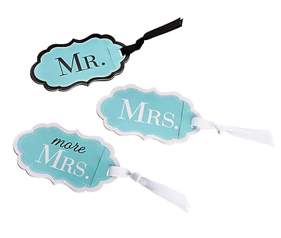 Lillian Rose Mr., Mrs. & More Mrs. Aqua Luggage Tags (TR640 MM)