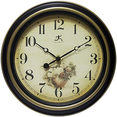 Infinity Instruments 15.5 in H x 15.5 in L x 1.75 in D Black & Gold clock (15199AB-4153)