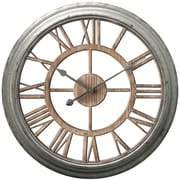 "Infinity Instruments 25.75""H x 25.75""L x 2.75""D Antique Zinc Clock (15230GA)"