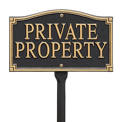 Whitehall Products Private Property Statement Plaque - Wall/Lawn - Black/Gold (01430)