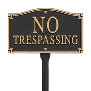 Whitehall Products No Trespassing Statement Plaque - Wall/Lawn - Black/Gold (01424)