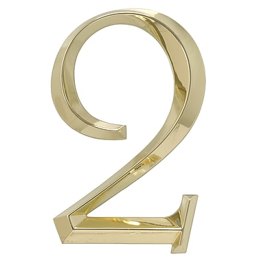 Whitehall Products Classic 6-Inch Stand-Alone Number 2 - Polished Brass (11102)