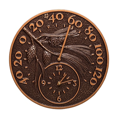 Whitehall Products Pinecone Thermometer Clock - Antique Copper (01789)