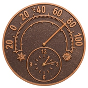 """Whitehall Products 14""""Solstice Clock And Thermometer - Antique Copper (1782)"""